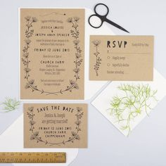 The Meadow collection is a rustic wedding stationery collection designed by Wolf Whistle Studio.Text can be completely personalised. I will be in touch with you following placement of an order to discuss the wording on your stationery.Featuring hand drawn wild flowers and foliage matched with quirky fonts in a hand written style on textured kraft board. Perfect for country weddings. If you would like to order a sample, please choose this option on the drop down menu and you will receive a se... Rustic Wedding Stationery, Country Wedding Invitations, Wedding Calligraphy, Wedding Reception Games, Wedding Venues, Wedding Ceremony, Parda, Flower Invitation, Wedding Planning Tips