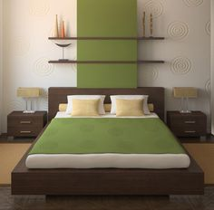 Hevea Grove: Simple, zen-like bedding on platform bed. Mix of lines & curves.