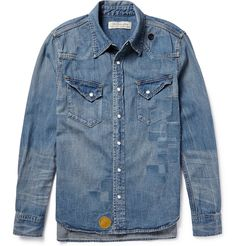 Shop men's casual shirts at MR PORTER, the men's style destination. Discover our selection of over 400 designers to find your perfect look. Designer Casual Shirts, Casual Shirts For Men, Men Casual, Denim Shirt Men, Denim Top, Studded Shirt, Stylish Mens Outfits, Vintage Jeans, Distressed Denim