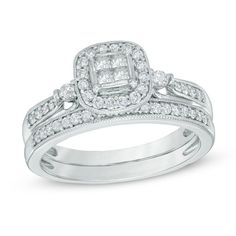 Precise 1/2 Ct Natural Diamond Square Frame Twist Shank Bridal Set In 10k White Gold Engagement & Wedding Jewelry & Watches