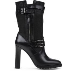 Burberry Ankle Boots ($299) ❤ liked on Polyvore featuring shoes, boots, ankle booties, black, zipper ankle boots, burberry boots, black bootie boots, round toe ankle boots and buckle booties