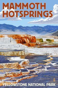 Yellowstone National Park - Mammoth Hotsprings - Lantern Press