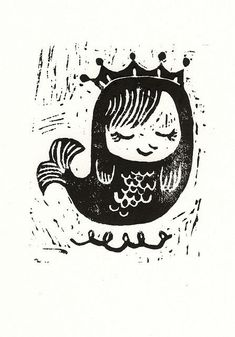 mermaid queen stamp linocut