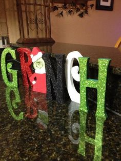 Glittered Grinch Letter Set by Gourdsandgifts on Etsy, $38.00