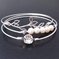 Romance  Pearl Wedding Bracelet Set Pearl Wedding by FrostedWillow, $69.00