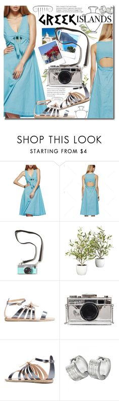 """Summer Vacation -  Greek Islands"" by beebeely-look ❤ liked on Polyvore featuring Nearly Natural, Ancient Greek Sandals, SummerVacation, Packandgo, twinkledeals, Dressunder50 and greekislands"