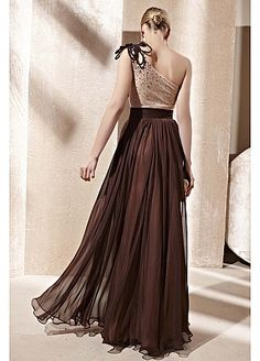 In Stock Timeless A-line Chocolate One-shoulder Full Length Evening Dress with Chic Beading Leaf Bodice