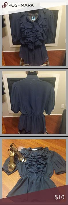 Selling this Navy blouse, ruffle collar, cinched waist in my Poshmark closet! My username is: aikerd. #shopmycloset #poshmark #fashion #shopping #style #forsale #Free Generation #Tops