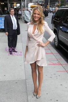 Blake Lively pulled a double while promoting her new flick Savages at The Late Show.  The Gossip Girl arrived at the Ed Sullivan Theater Tuesday afternoon in a pale pink silk-chiffon Jenny Packham...