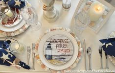 Nautical Table Setting with Shark Flatware