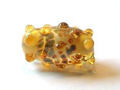 Topaz/Brown Glass Raised Dot Focal Bead  Handmade by amazingbeads - 12 euro