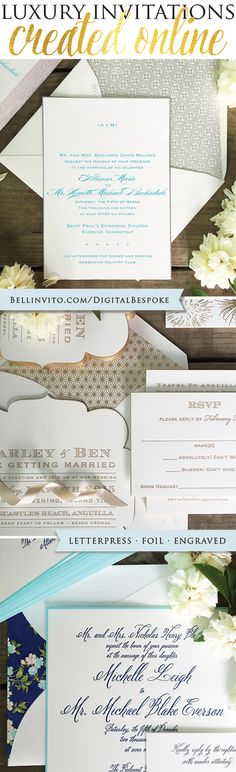 Design your own wedding invitations online using Bell'INVITO's easy-to-use Digital Bespoke design tool! Choose between letterpress, foil, or engraved printing and a variety of fonts and ink colors. As always, return address printing is FREE!