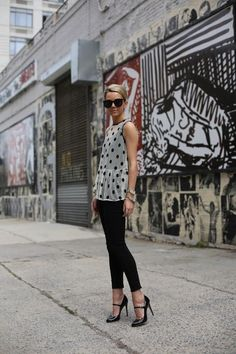 How to Wear a Sheer Blouse - sheer polka dot blouse + skinny black pants | StyleCaster