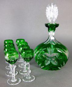 Antique Czech Bohemian Emerald Green Decanter Liquor Cordial Set Moser Era | eBay