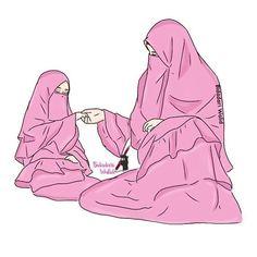 Couple Cartoon, Girl Cartoon, Cartoon Art, Muslim Family, Muslim Girls, Hijab Drawing, Film Anime, Islamic Cartoon, Anime Muslim