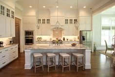 Timeless white custom cabinetry. Custom Cabinetry, Kitchen Living, Home Kitchens, New Homes, Kitchen Inspiration, Table, French Country, Furniture, Design Ideas