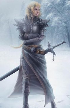 Armoured female warrior in the snow