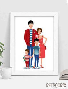 Mira este artículo en mi tienda de Etsy: https://www.etsy.com/es/listing/294423219/custom-family-portrait-family-portrait