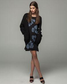 Workshop Denim Tee Dress - Black, Ondria Cardiagan - Carbon