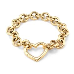Tiffany & Co. Tiffany & Co. Yellow Gold Heart Bracelet ($4,300) ❤ liked on Polyvore featuring jewelry, bracelets, gold, yellow gold bracelet, gold heart bracelet, gold bracelet, wide gold bracelet and 18k gold bangle