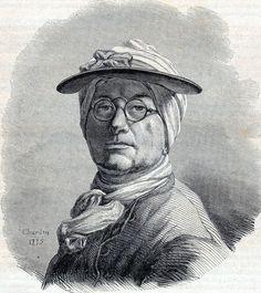 Antique print gravure Portrait Jean Siméon Chardin 1850 Ritratto stampa antica