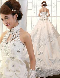 2015年 ボールガウン ウェディングドレス アイボリー サテン ハイネック チャペル コレクション – ¥27,420