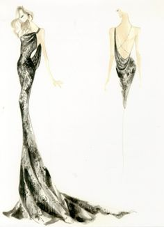 Met Ball 2012 Sketch for Nina Dobrev by Donna Karan Atelier