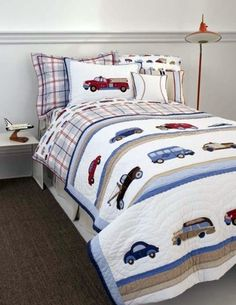 Whistle & Wink Cars and Trucks Twin Quilt - http://www.theboysdepot.com/whistle-and-wink-cars-and-trucks-twin-quilt.html