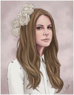 20x30 Chocolat' Cream Vintage Queen Lana Del Rey by Pollypixels, $19.99
