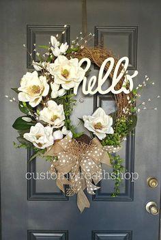 Signature Magnolia Wreath, Spring Magnolia Wreath Magnolia wreaths are one of the most beautiful foliage in nature. This elegant magnolia wreath incorporates large, realistic, artificial magnolia flowers and leaves on a grapevine oval base. A tasteful and Magnolia Wreath, Magnolia Flower, Diy Wreath, Grapevine Wreath, Wreath Ideas, Wreath Burlap, Monogram Wreath, White Wreath, Wreath Bows