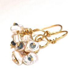 Keshi Pearl Cluster Earrings Sapphire Gold Vermeil Minimalist Jewelry Gemstone Jewelry Fizz Candy, #pearl, #earrings, #bunch, #cluster, #delicate, #jewelry, #fizzcandy