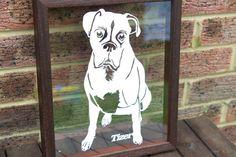 Personalised Dog Portrait Papercut Walnut Frame & White Paper