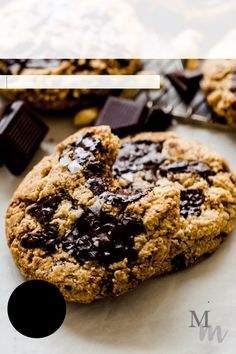 These gluten free, dairy free, and paleo chocolate chip cookies are made with raw cashews, dark chocolate and topped off with flaky salt. They are made in just 5 minutes in the bowl of a food processor. #cookies #glutenfree #dairyfree #chocolatechipcookies Paleo Cookie Recipe, Healthy Cookie Recipes, Dairy Free Cookies, Paleo Cookies, Healthy Chocolate Chip Cookies, Chocolate Desserts, Raw Cashews, Homemade Pie, Paleo Dessert