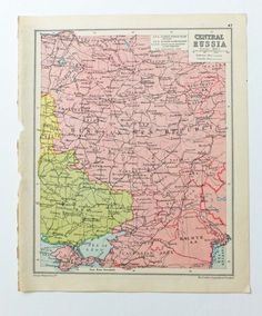 Central Russia map, Vintage Map of Central Russia, 1934 map,