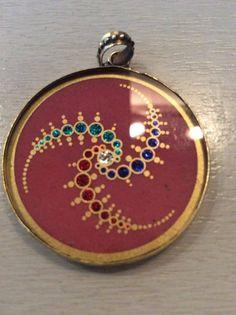 1 Mandala Anhänger aus Indien Kette Schmuck neu Bollywood Hippie Goa Glas 3cm n8