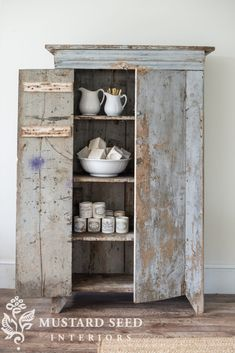 miss mustard seed | a total heart purchase | miss mustard seed brings to her studio a primitive blue gray cabinet and adds it to her favorite finds.