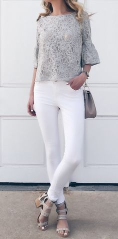 spring outfit ideas: gray lace ruffle sleeve top