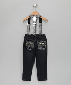 Take a look at this Indigo Rhinestone Skinny Suspender Jeans - Girls by Glitter Girls on #zulily today!