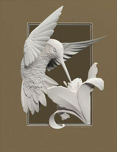 humming bird ~ Paper sculptures by Calvin Nicholls