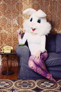 "Honey Bunny enjoys a smoke~""Single White Female"" by Chelsea Fisher~♛ art Animal Masks, Animal Heads, Composition D'image, Single White Female, Art Original, Funny Bunnies, Foto Art, Fursuit, Photomontage"