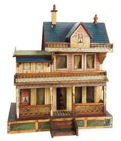 American Wooden Dollhouse by Bliss with Elaborate Porches and Balcony