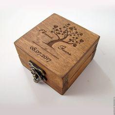 Купить Шкатулка для колец на свадьбу. С деревом - коричневый, шкатулка, коробочка для колец, коробочка для украшений