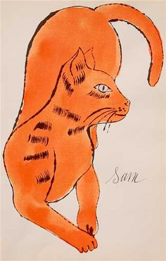 25 Cats Named Sam...(Orange with Purple Eye, Reclining), circa 1954, by Andy Warhol