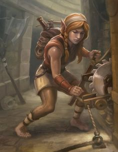 """we-are-rogue: """" Halfling Trap by egilthompson """"A painting of a female halfling removing a trap """" """""""