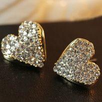 Heart Pattern Diamond Ear Rings