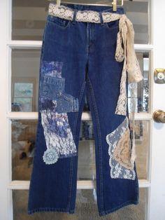 Levis size 6 pet Upcycled Lace Blue Denim Jeans with Lace Belt Hippie 70's 80's 90's Clothes Clothing by LandofBridget