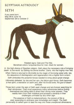 Zodiac Unlimited Egyptian astrology postcard: Seth