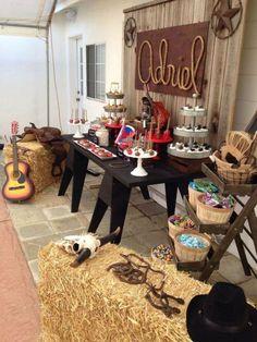 Amazing setup for a cowgirl/cowboy themed birthday party! Rodeo Party, Rodeo Birthday Parties, Cowboy Theme Party, Cowgirl Birthday, Birthday Party Themes, Cowboy Party Centerpiece, Country Party Decorations, Western Decorations, Birthday Ideas