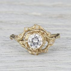 diamond twig engagement ring, Rustic engagement ring, twig engagement ring, rustic wedding, outdoor wedding, nature inspired engagement ring, nature engagement ring, diamond engagement ring, unique engagement ring, alternative engagement ring, halo engagement ring, diamond halo ring, by Olivia Ewing Jewelry |