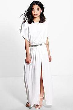 Petite Suzanne Trim Detail Drape Maxi Dress